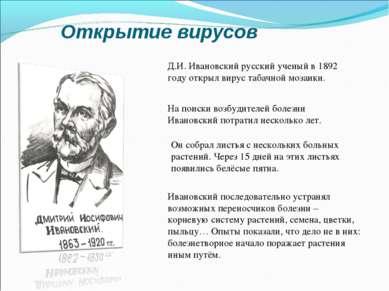 Открытие вирусов Д.И. Ивановский русский ученый в 1892 году открыл вирус таба...
