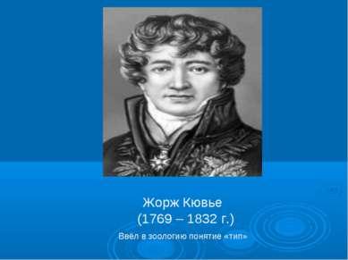 Жорж Кювье (1769 – 1832 г.) Ввёл в зоологию понятие «тип»