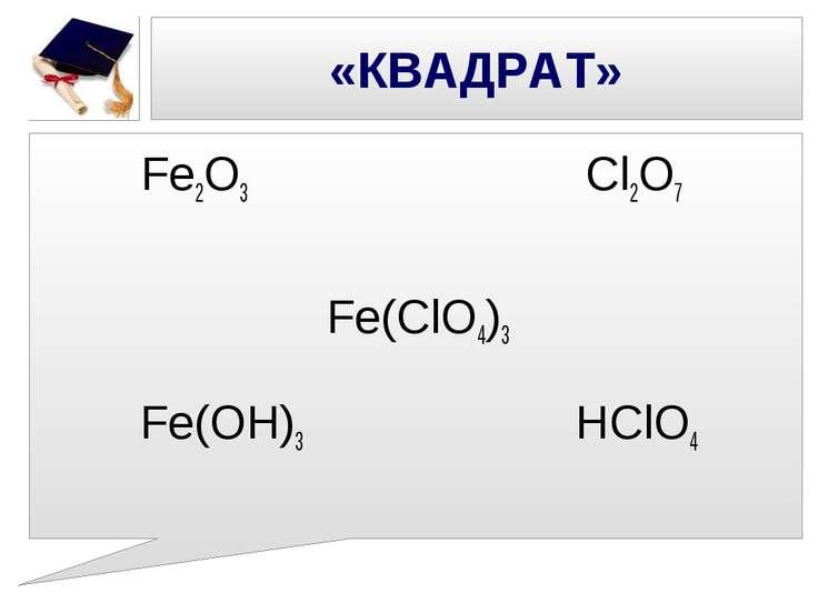 «КВАДРАТ» Fe2O3 Cl2О7 Fe(ClO4)3 Fe(ОН)3 НClO4