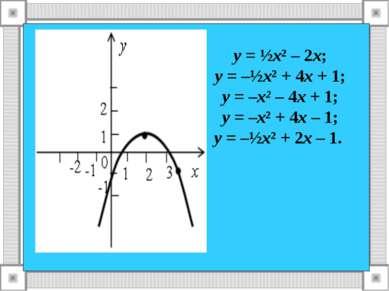 у = ½х² – 2х; у = –½х² + 4х + 1; у = –х² – 4х + 1; у = –х² + 4х – 1; у = –½х²...