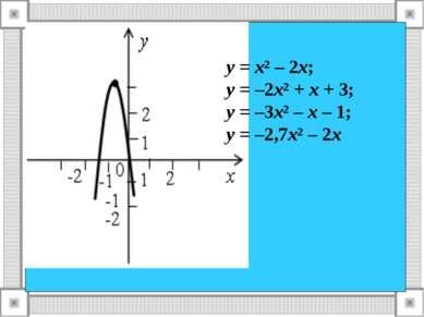 у = х² – 2х; у = –2х² + х + 3; у = –3х² – х – 1; у = –2,7х² – 2х