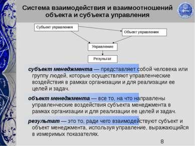 Система взаимодействия и взаимоотношений объекта и субъекта управления субъек...