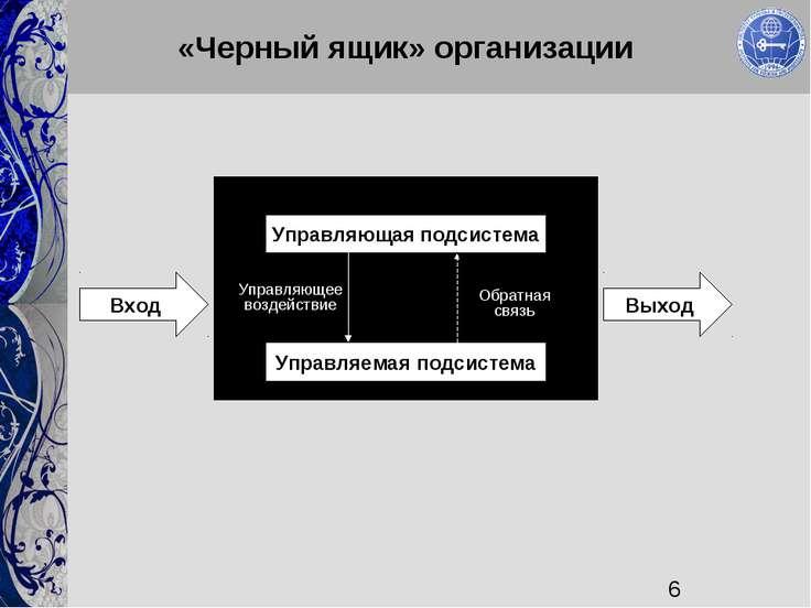 «Черный ящик» организации Управляющая подсистема Управляемая подсистема Вход ...