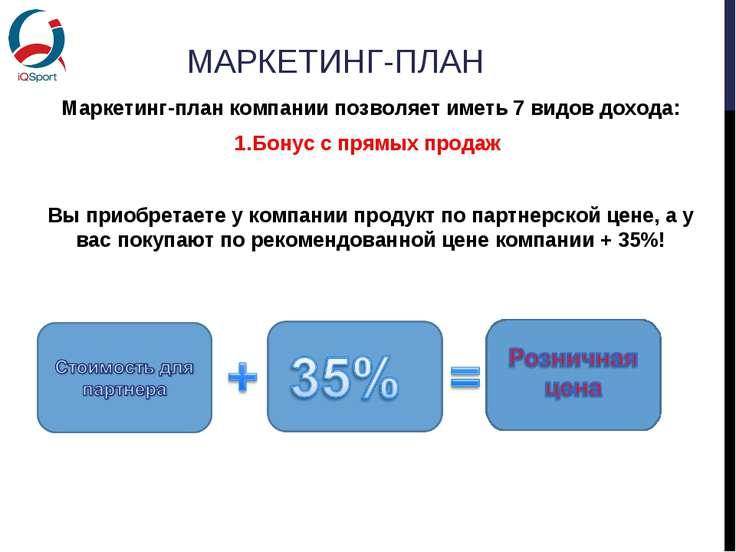 МАРКЕТИНГ-ПЛАН Маркетинг-план компании позволяет иметь 7 видов дохода: Бонус ...