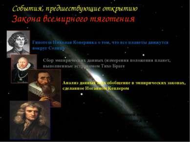 События, предшествующие открытию Закона всемирного тяготения Гипотеза Николая...