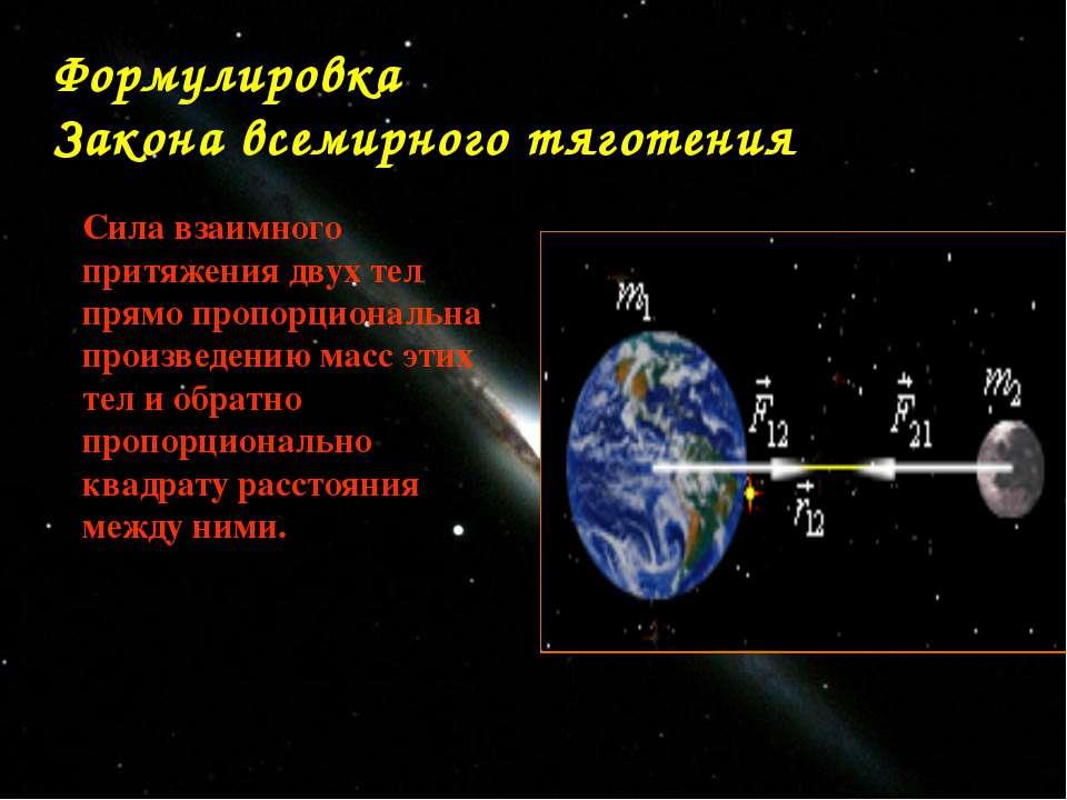 Формулировка Закона всемирного тяготения Сила взаимного притяжения двух тел п...