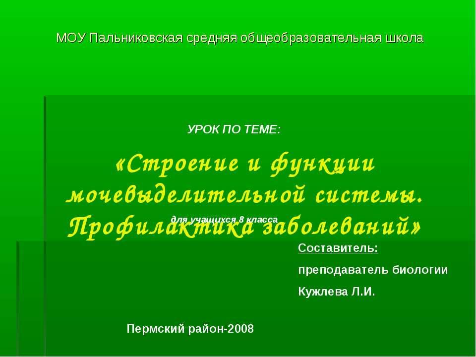МОУ Пальниковская средняя общеобразовательная школа УРОК ПО ТЕМЕ: «Строение и...