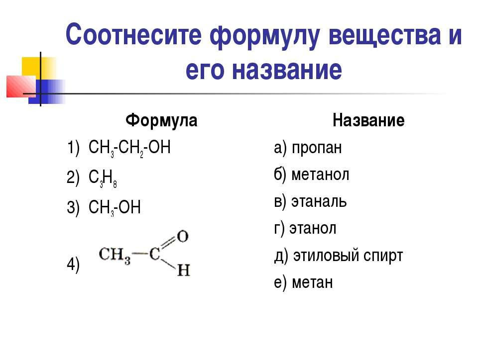 Соотнесите формулу вещества и его название Формула 1) СН3-СН2-ОН 2) С3Н8 3) С...
