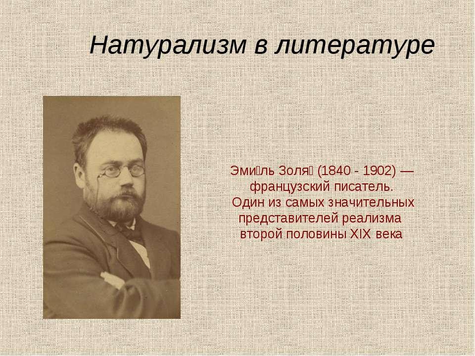 Эми ль Золя (1840 - 1902) — французский писатель. Один из самых значительных ...