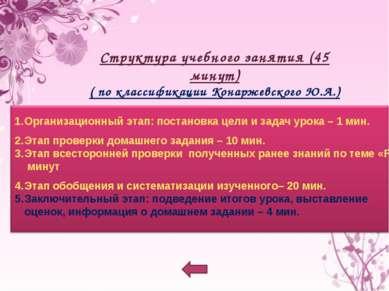 Структура учебного занятия (45 минут) ( по классификации Конаржевского Ю.А.)