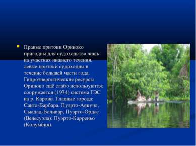 Правые притоки Ориноко пригодны для судоходства лишь на участках нижнего тече...