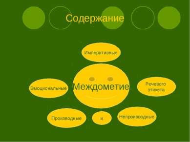 Содержание Междометие Эмоциональные Императивные Речевого этикета Производные...