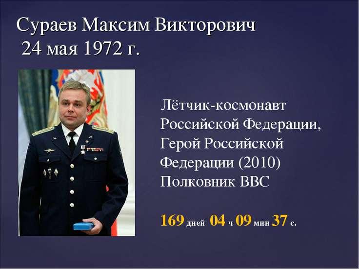 Сураев Максим Викторович 24 мая 1972 г. Лётчик-космонавт Российской Федерации...