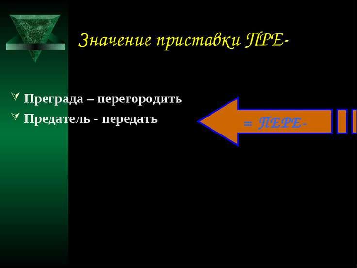 Значение приставки ПРЕ- Преграда – перегородить Предатель - передать = ПЕРЕ-