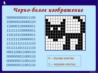Черно-белое изображение 0000000000011100 1000000100000110 1100001100000011 11...
