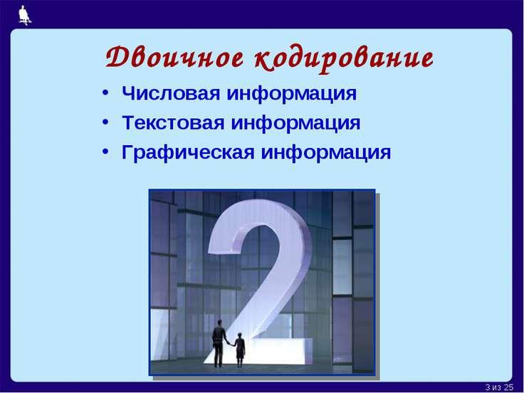 Двоичное кодирование Числовая информация Текстовая информация Графическая инф...