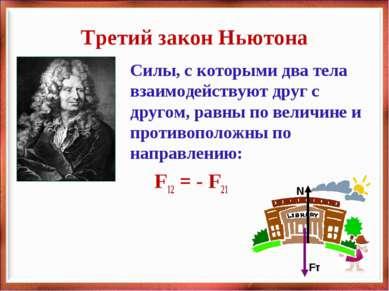 Третий закон Ньютона Силы, с которыми два тела взаимодействуют друг с другом,...