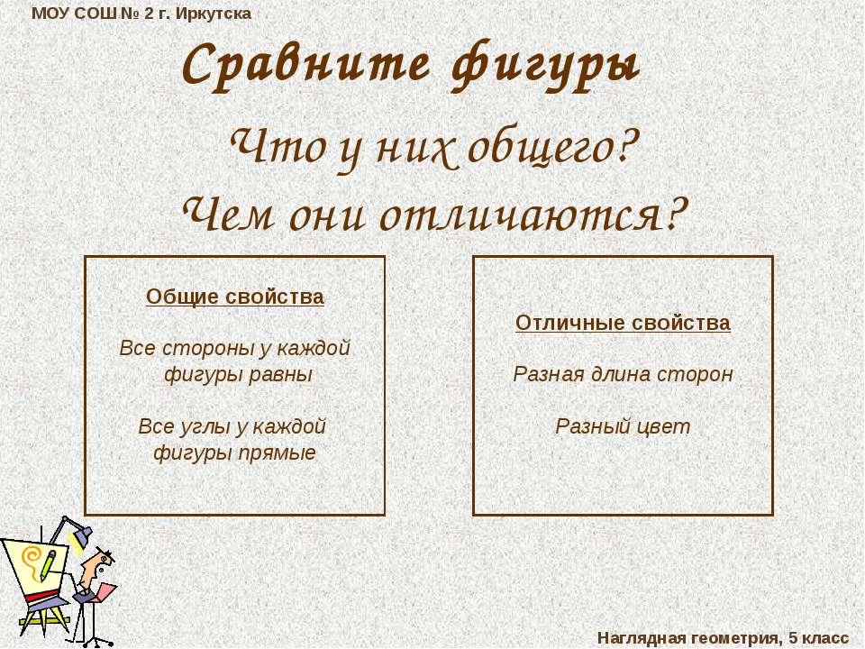 МОУ СОШ № 2 г. Иркутска Наглядная геометрия, 5 класс Сравните фигуры Что у ни...