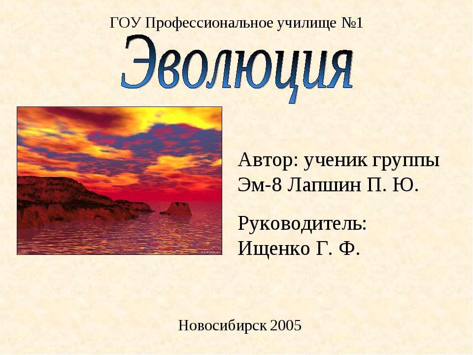 ГОУ Профессиональное училище №1 Новосибирск 2005 Автор: ученик группы Эм-8 Ла...