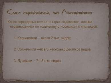 Класс саркодовых состоит из трех подклассов, весьма неравноценных по количест...