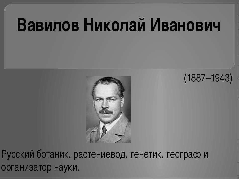 (1887–1943) Русский ботаник, растениевод, генетик, географ и организатор на...