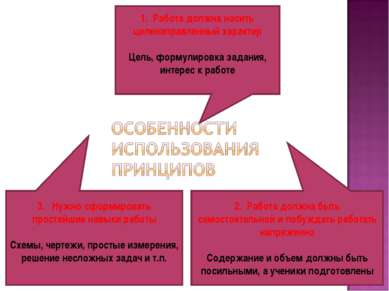 1. Работа должна носить целенаправленный характер Цель, формулировка задания,...