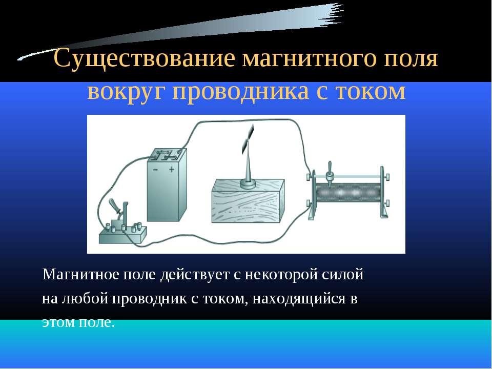 Существование магнитного поля вокруг проводника с током Магнитное поле действ...