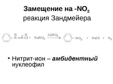 Замещение на -NО2 реакция Зандмейера Нитрит-ион – амбидентный нуклеофил