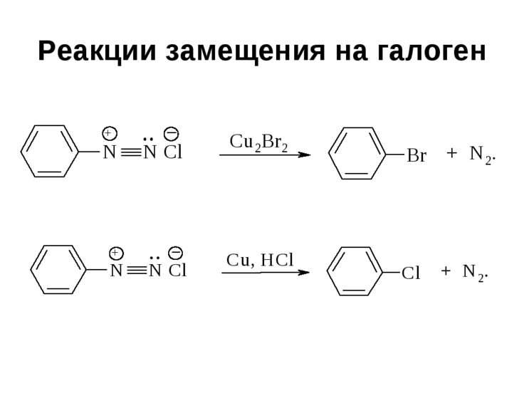 Реакции замещения на галоген