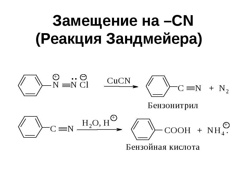 Замещение на –CN (Реакция Зандмейера)