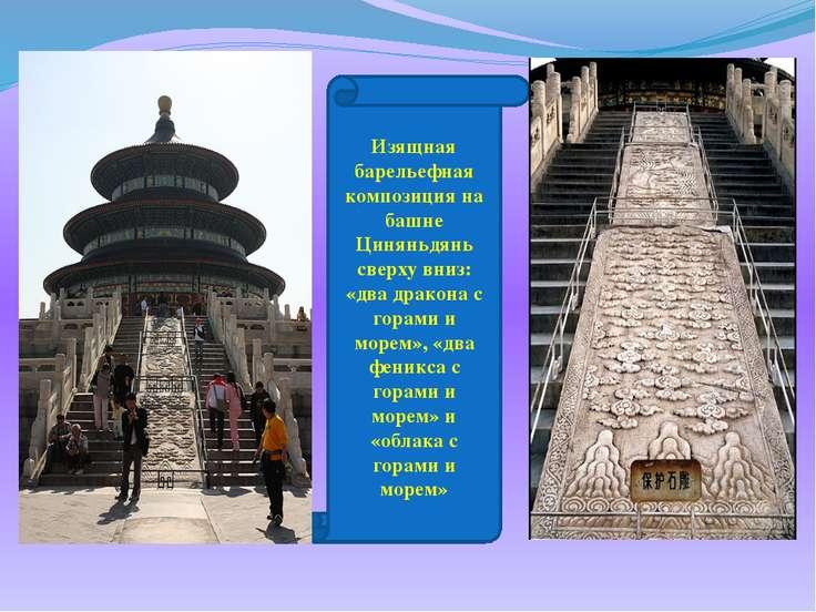 Изящная барельефная композиция на башне Циняньдянь сверху вниз: «два дракона ...