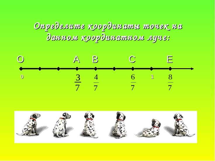 Определите координаты точек на данном координатном луче: О А В С Е 0 1