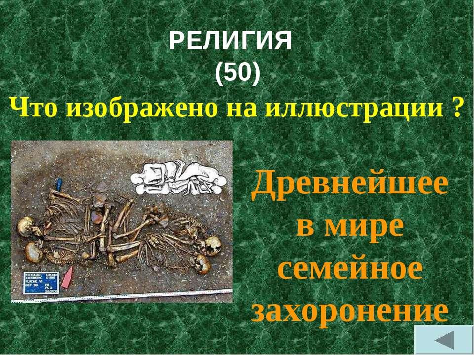 РЕЛИГИЯ (50) Что изображено на иллюстрации ? Древнейшее в мире семейное захор...