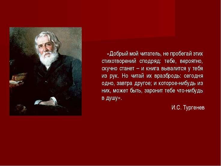 «Добрый мой читатель, не пробегай этих стихотворений сподряд: тебе, вероятно,...