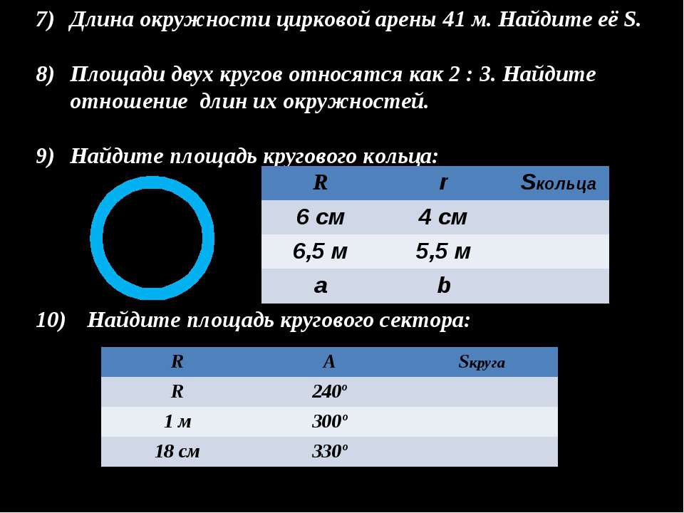 Длина окружности цирковой арены 41 м. Найдите её S. Площади двух кругов относ...