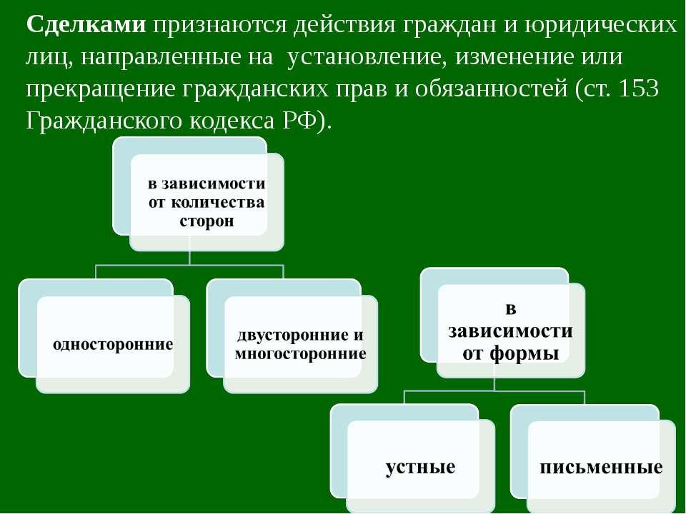 Сделками признаются действия граждан и юридических лиц, направленные на устан...