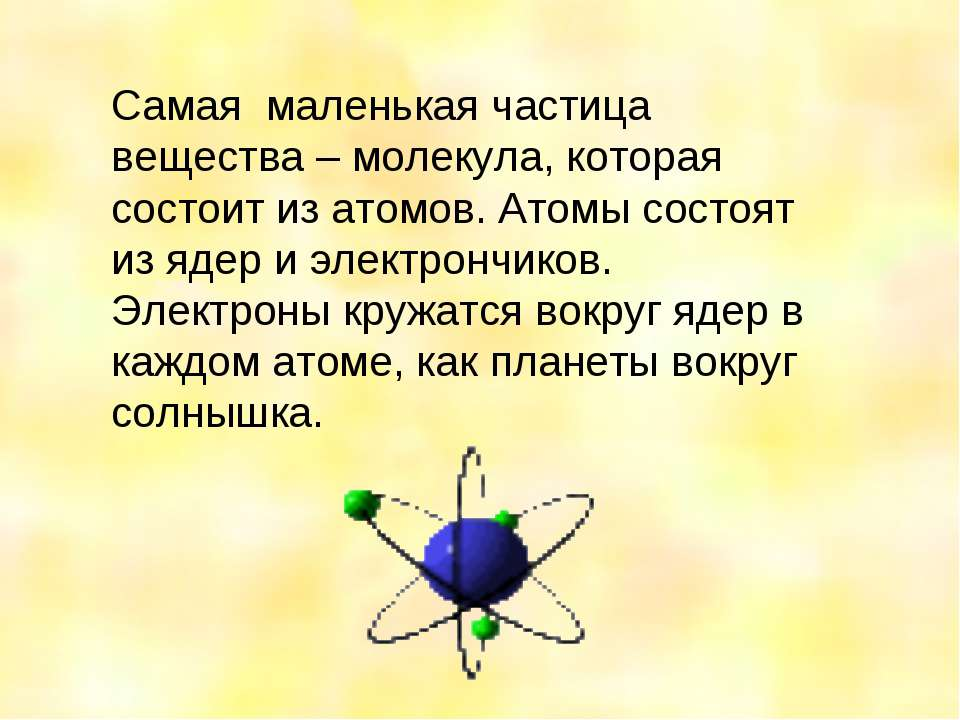 Самая маленькая частица вещества – молекула, которая состоит из атомов. Атомы...