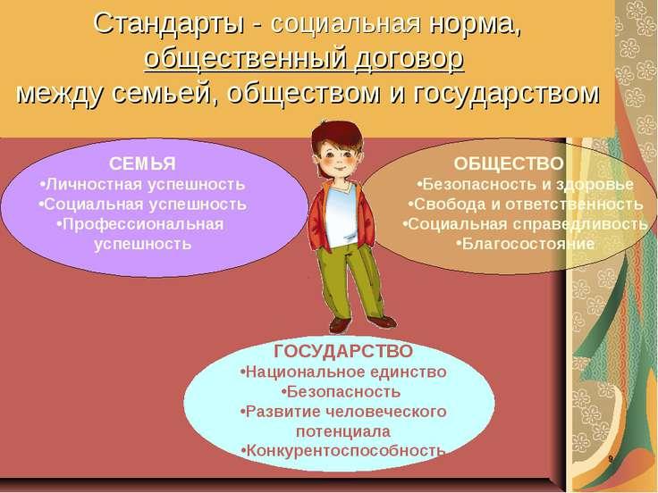 * Стандарты - социальная норма, общественный договор между семьей, обществом ...