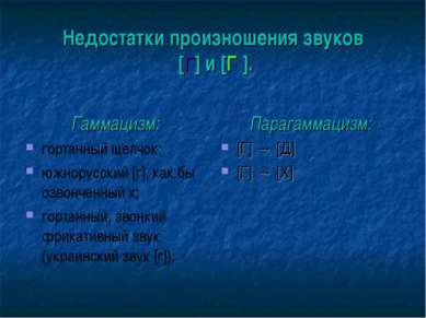 Недостатки произношения звуков [Г] и [Г′]. Гаммацизм: гортанный щелчок; южнор...