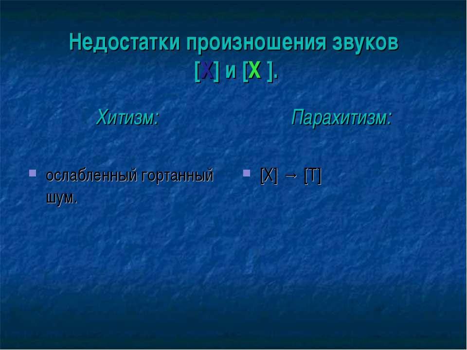 Недостатки произношения звуков [Х] и [Х′]. Хитизм: ослабленный гортанный шум....
