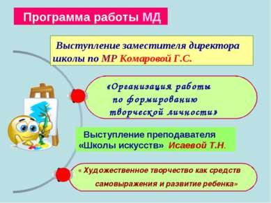 «Организация работы по формированию творческой личности» Программа работы МД ...