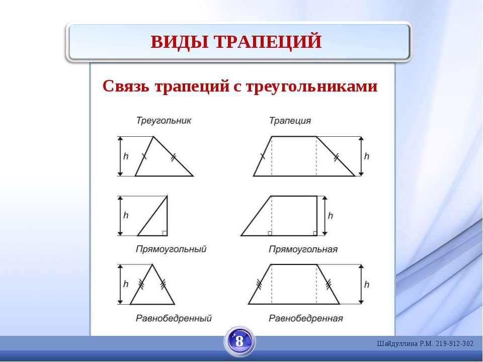 ВИДЫ ТРАПЕЦИЙ 8 Связь трапеций с треугольниками Шайдуллина Р.М. 219-912-302