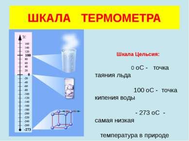 ШКАЛА ТЕРМОМЕТРА Шкала Цельсия: 0 оС - точка таяния льда 100 оС - точка кипен...