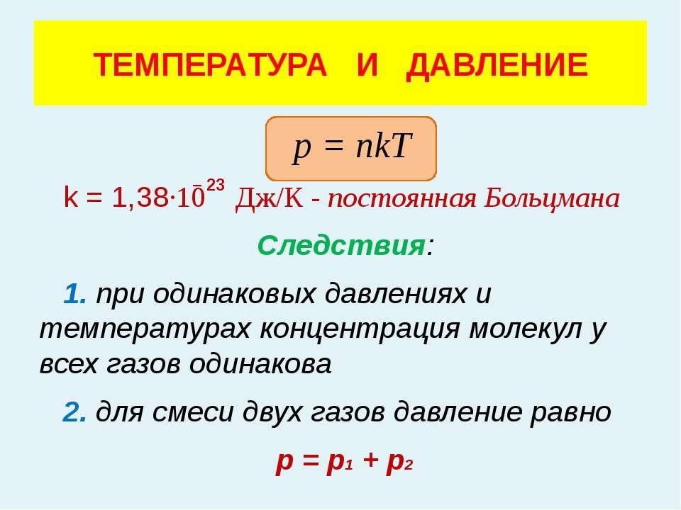 р = nkT k = 1,38·10 Дж/К - постоянная Больцмана Следствия: 1. при одинаковых ...