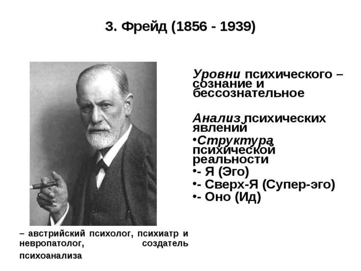 З. Фрейд (1856 - 1939) Уровни психического – сознание и бессознательное Анали...