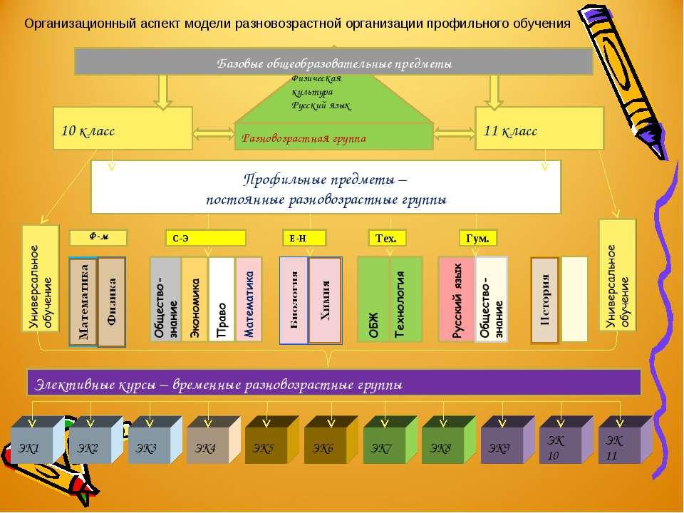 Физическая культура Русский язык Организационный аспект модели разновозрастно...