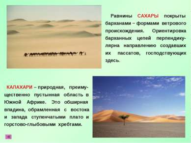КАЛАХАРИ – природная, преиму- щественно пустынная область в Южной Африке. Это...