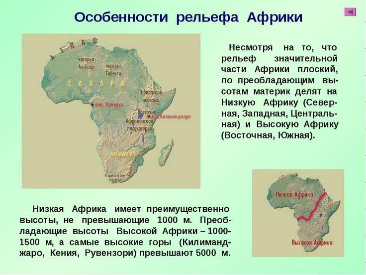 Низкая Африка имеет преимущественно высоты, не превышающие 1000 м. Преоб- лад...
