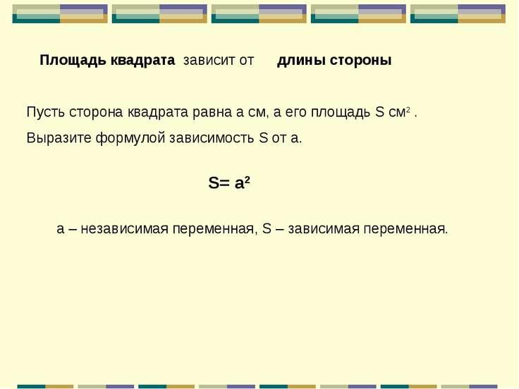 Площадь квадрата зависит от длины стороны Пусть сторона квадрата равна а см, ...