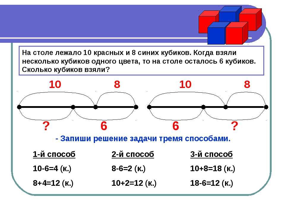 На столе лежало 10 красных и 8 синих кубиков. Когда взяли несколько кубиков о...